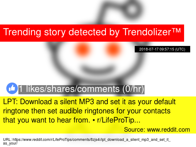 LPT: Download a silent MP3 and set it as your default